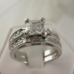 2.5ct Princess Cut Engagement Wedding Ring Set